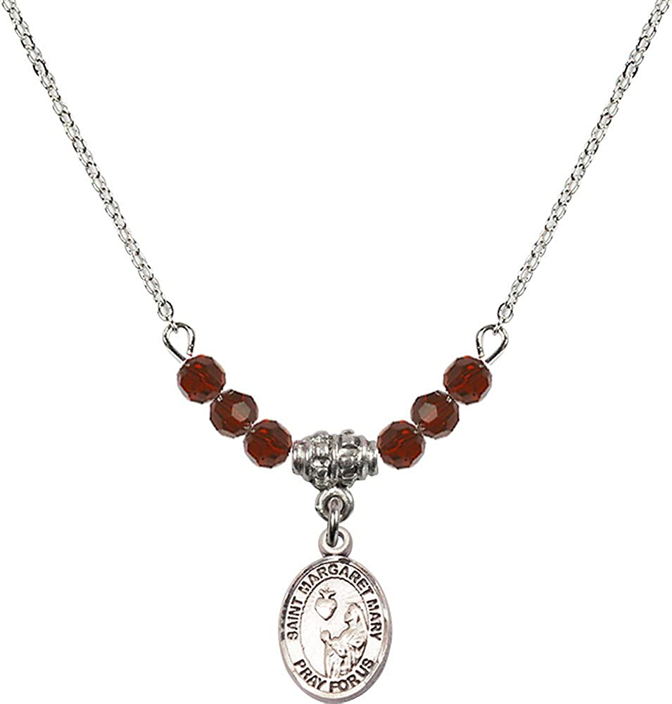 18-Inch Rhodium Plated Necklace with 4mm Garnet Birthstone Beads and Sterling Silver Saint Margaret Mary Alacoque Charm.
