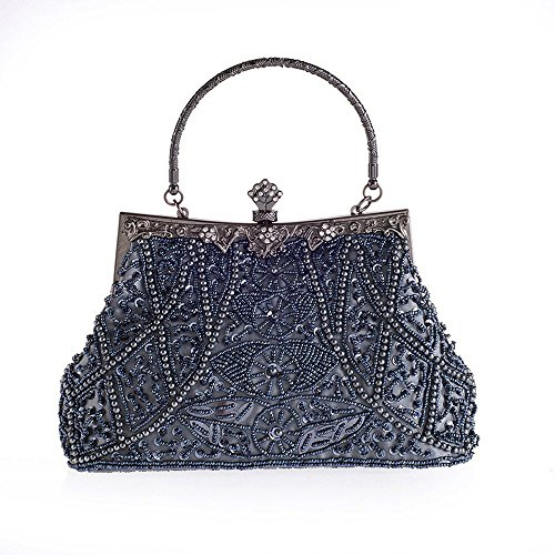 - Vintage Beaded and Sequined Women Evening Bag Evening Purse Clutch Bag Grey-Blue