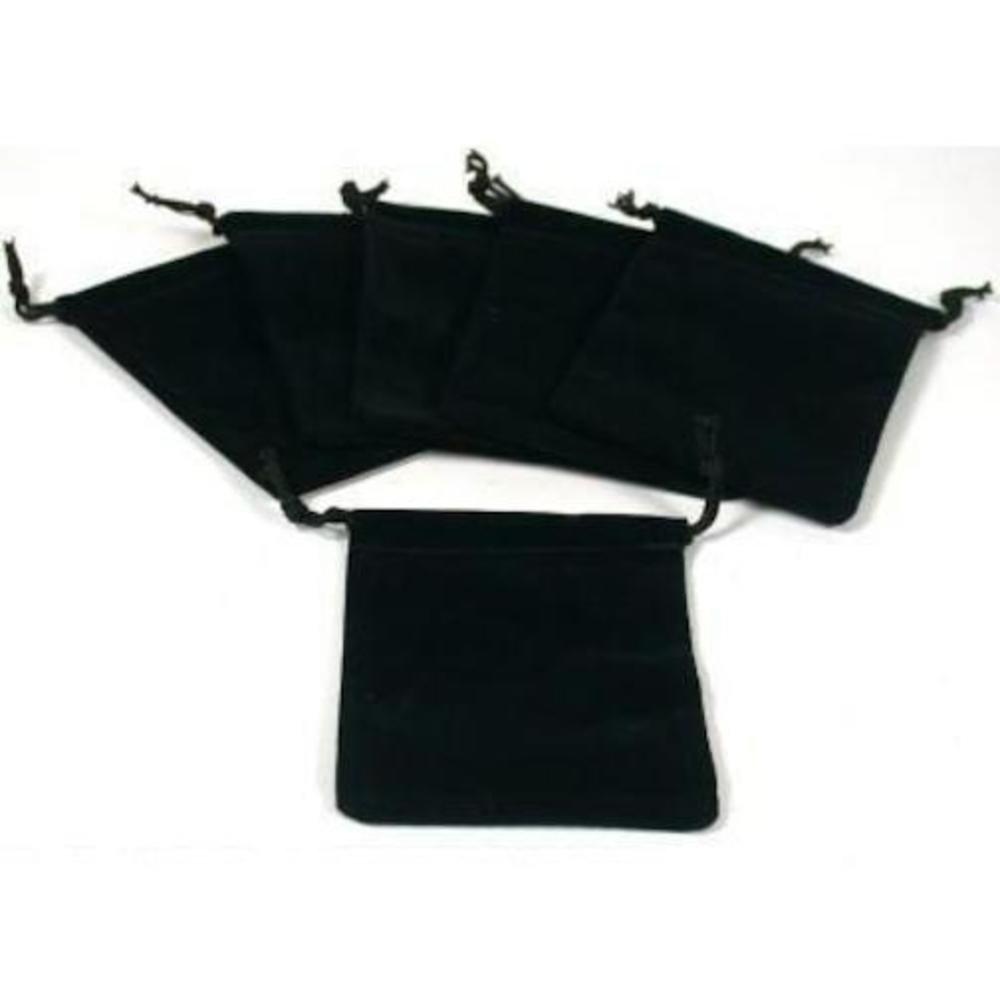SODIAL(R) Black Velvet Drawstring Jewelry Bags 3 025743