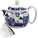 zisha teapot travel - BandTie Convenient Travel Home Office Loose Leaf Chinese Gongfu Tea Brewing System-Blue and White Porcelain Teapot Ceramics Tea Pot with Stainless Steel Tea Infuser Strainer,Cities and Towns