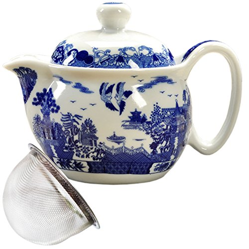 (BandTie Convenient Travel Home Office Loose Leaf Chinese Gongfu Tea Brewing System-Blue and White Porcelain Teapot Ceramics Tea Pot with Stainless Steel Tea Infuser Strainer,Cities and Towns)