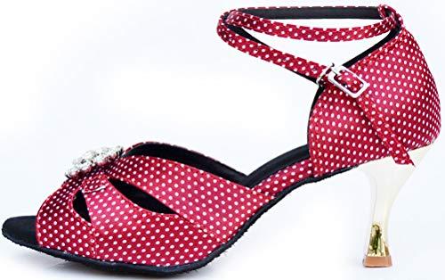 Peep Mide Womens 005 Latin Wedding Rose Heel Satin Dance Toe Toe Peep Shoes Salsa zXXaqrw7