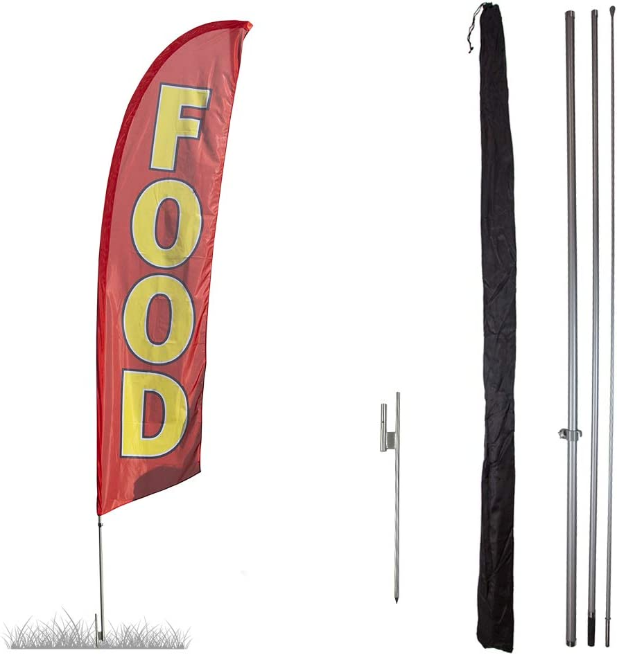 Vispronet Food Feather Flag Kits - 13.5ft/13ft Swooper Flags with Pole Sets & Bases