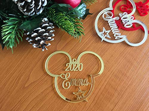 Party Favor Plaque Name - Mickey Mouse Ears Christmas Tree Decoration 2020 Ornament Personalized Name Bauble Disney Party Favor Decor 1st Xmas 2019 Gift for Kids First Birthday Gifts Hanging Cute Minnie Mouse Acrylic Ornaments