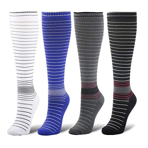 YOLIX Compression Socks Women and Men 20-30 mmHg - 4 to 6 Pairs Best Knee High Stocking for Travel, Sports, Pregnancy, Medical, Nursing, Flight]()