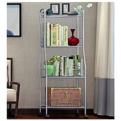 "YAONIEO 4-Tiers Heavy Duty Kitchen Storage Bakers Organizer Rack Utility Shelves 18.89"" L x 13.78"" W x 47.6"" H Silver Grey"