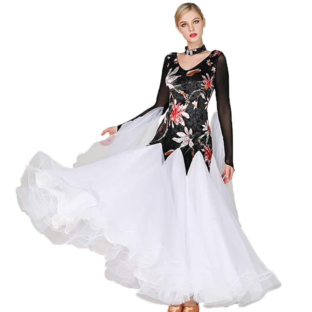 noir XXL Robes de Danse de Salon pour Les Femmes Moderne Lisse Valse Tango Costumes De Fête Grande Balançoire Collant VêteHommests de Danse de Compétition Jupe