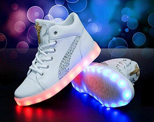 JSHOE LED Black Schuhe Glühen 7 Weihnachten Valentinstag Schuhe Ladung Farben Frauen Halloween Hilfe Hohe Lässig USB Für 44rqCAwx