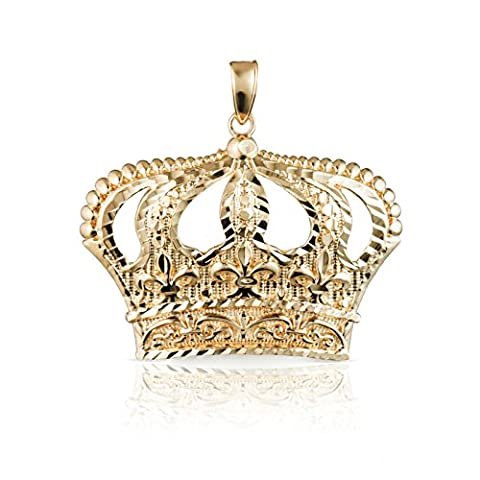 10k Yellow Gold Open Big Crown Charm Pendant with Diamond Cut Design, (Meduim) (Religious Gold Crowns)