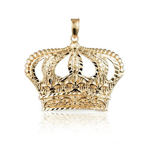 10k Yellow Gold Open Big Crown Charm Pendant with Diamond Cut Design, - 10k Pendant Gold Eagle