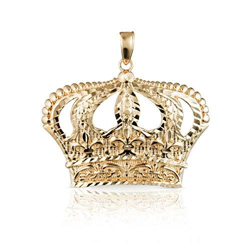 10k Yellow Gold Open Big Crown Charm Pendant with Diamond Cut Design, - Eagle Pendant 10k Gold