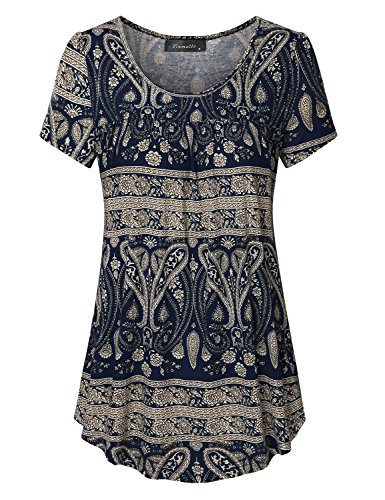 Vinmatto Women's Scoop Neck Pleated Blouse Top Tunic Shirt(3XL,Multi Deep Blue) (Stretch Knit Blouse)