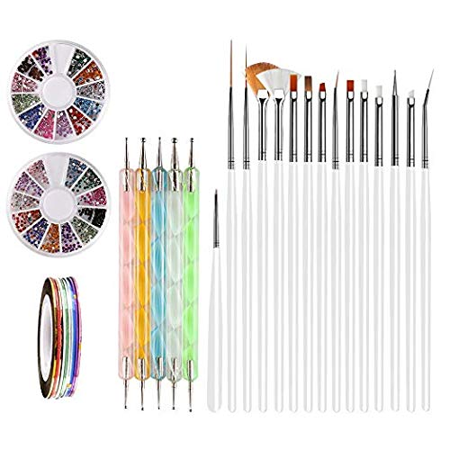 Nail Art Brushes, Teenitor 3d Nail Art Paiting Polish Design Kit with 15 Nail gel Brushes, Nail Dotting Pen 5pcs, 12 Colors Nail Rinestones & 10 adhesive Nail striping tape for False Acrylic Nails