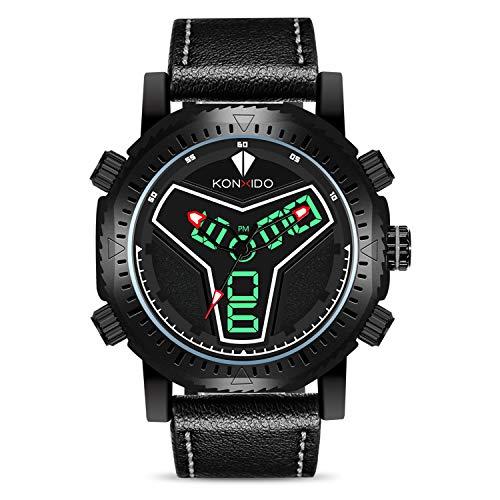 KONXIDO Men s Business Quartz Watch, Casual Fashion Analog Wrist Watch Classic Date and Week Window, Waterproof 30M Water Resistant Comfortable Genuine Leather Strap Watches