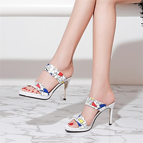 à Blanc Europe des chaussures pantoufles avec talons femmes hauts bout ouvert et les shoes Blanc Unis female Single Couleur long225mm Shoes à fines taille États 35 E7qn840w
