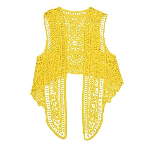 Grazioso Boho Aperto Crochet Pizzo Camicetta Hop Moda Giallo Canotta Maglia Estate Vintage Top Gilet Casual Donna In Tank Hip A ZwPqt7X