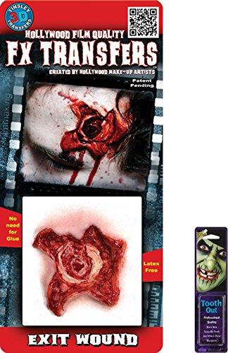 [Bundle: 2 Items - Exit Wound 3D Prof Tattoo and Free Pack of Makeup] (3d Skeleton Zombie Costumes)