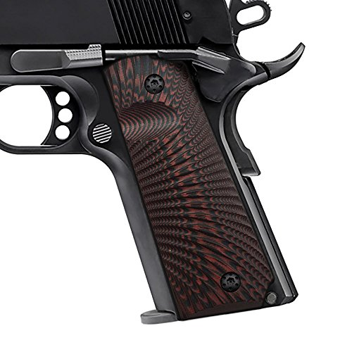 Cool Hand 1911 Full Size G10 Grips, Free Screws Included, Mag Release, Ambi Safety Cut, Sunburst Texture, Brand, Red/Black