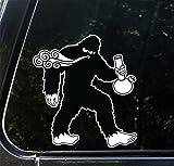 "Sasquatch Smoking Water Pipe - Bigfoot - Smoke - Peel and Stick Decal Sticker - Copyright 2016 Yadda-Yadda Design Co. [4.5""w x 5""h]"