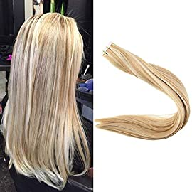 Fshine Adhesive Hair Tape,Tape On Hair Seamless Skin Weft Hair Extensions 12 Inch Tape In Straight Brazilian Human Hair 30 Gram Pu Tape Hair For Women Color 16 Highlighted 24 Blonde