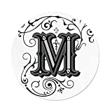 exterior color schemes Polyester Round Tablecloth,Letter M,Abstract Ornamental Design in Dark Color Scheme Swirls and Lines Eastern Decorative,Black Grey White,Dining Room Kitchen Picnic Table Cloth Cover,for Outdoor Indoo