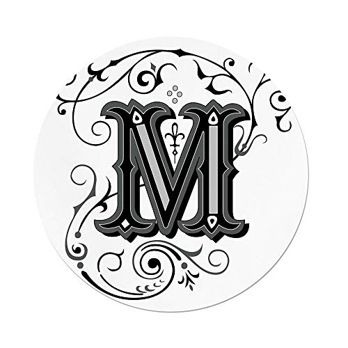 Polyester Round Tablecloth,Letter M,Abstract Ornamental Design in Dark Color Scheme Swirls and Lines Eastern Decorative,Black Grey White,Dining Room Kitchen Picnic Table Cloth Cover,for Outdoor Indoo