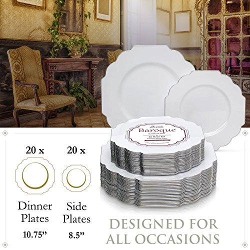 Party Disposable 40 pc Dinnerware Set | 20 Dinner Plates and 20 Salad or Dessert Plates | Heavyweight Plastic Dishes | Elegant Fine China Look | for Upscale Wedding and Dining (Baroque – White)