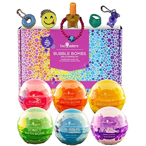 6 Kids Bubble Bath Bombs for Girls with Fun Surprise Toys and Jewelry Inside by Two Sisters Spa. XL Large Lush Spa Fizzies Gift Set. 99% Natural. Safe Kid Friendly Ingredients. USA Made by Moms. ()