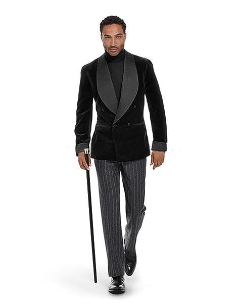 CALVINSUIT Hombre Traje de Terciopelo Negro para Hombre ...