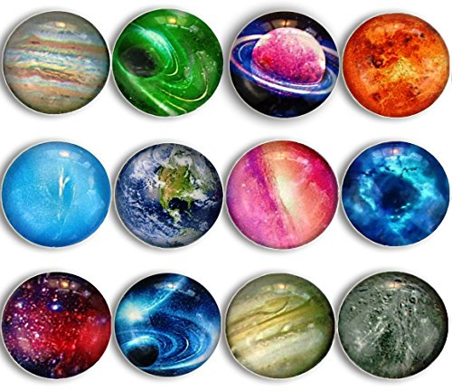 Cosylove 12pcs Galaxy Sky Refrigerator Magnets, Crystal Glass Fridge Magnets for Refrigerator, Office Cabinet, Whiteboard, Photo, Starry Sky Decorative Magnets as Holiday Gift