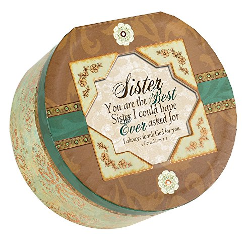 Sister Belle Papier Round Musical Jewelry Box with Elegance Finish Plays How Great Thou Art (Belle Musical Jewelry Box)