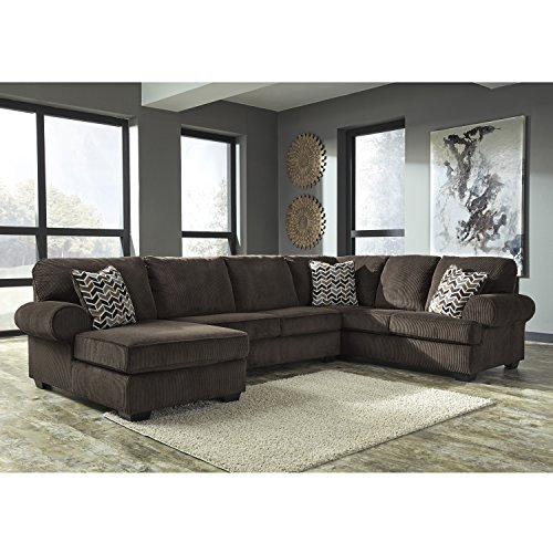 3 Brown Corduroy Piece (Flash Furniture Signature Design by Ashley Jinllingsly 3-Piece RAF Sofa Sectional in Chocolate Corduroy)