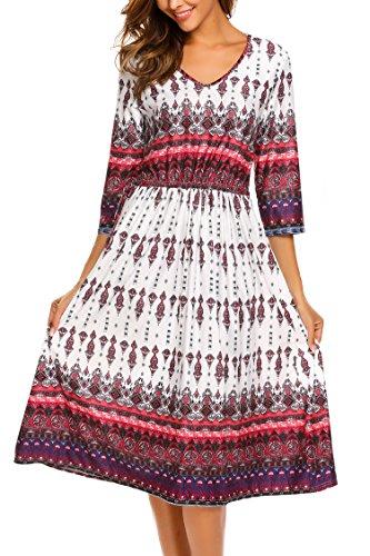 (Beyove Women's 3/4 Sleeve Waist Drawstring Boho Beach Maxi Dress White)
