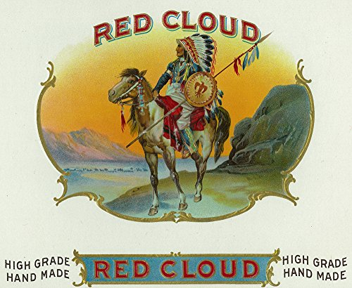 (Red Cloud Brand Cigar Box - Vintage Label (9x12 Fine Art Print, Home Wall Decor Artwork Poster))