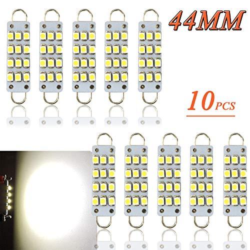 TORIBIO 10 X 44mm Bright White 6000k 12V Festoon LED Bulb, 12SMD Rigid Loop 1.73