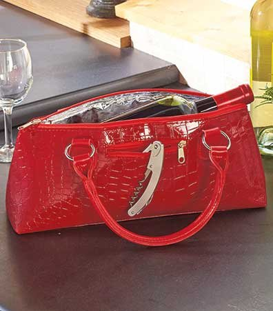 Luxury Insulated Wine Clutch - Red Crocodile Red Stripes Wine