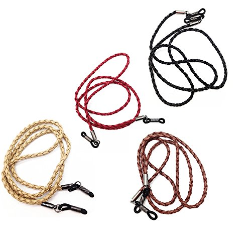 4 pcs Soft PU Leather Braid Eyeglass Chains Sunglass Holder Strap Cord Lanyard