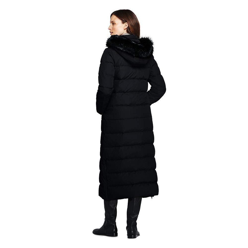 1ed24566631 Lands  End Women s Petite Winter Long Down Coat with Faux Fur Hood Faux Fur  at Amazon Women s Coats Shop