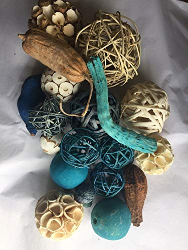 (Wreaths For Door 18 Piece Shades of Blue Twig Balls Rattan Decorative Spheres Vase Filler Decorative Bowl Filler with Orbs and Botanical Pods Traditional to Farmhouse)