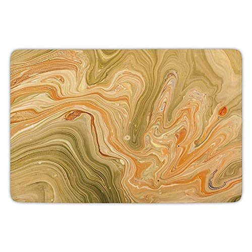 - K0k2t0 Bathroom Bath Rug Kitchen Floor Mat Carpet,Marble,Antique Ethnic Ottoman Art Ebru Turkish Marbling Modern Artwork,Orange Olive Green Sand Brown,Flannel Microfiber Non-Slip Soft Absorbent