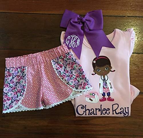 (Girls Doc McStuffins Top and Shorts Little Girls Personalized Doc McStuffins Birthday Outfit Doc McStuffins)