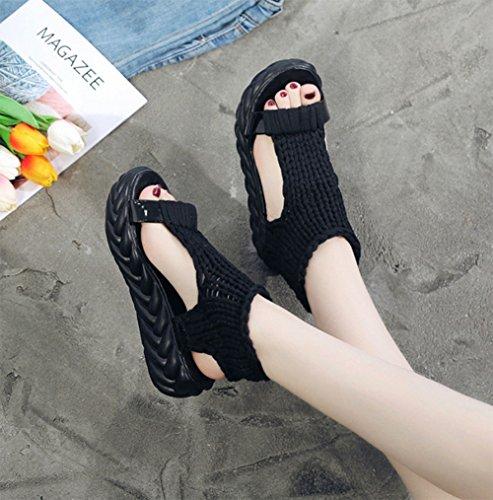 Sommerschwamm weiche flache flache Plattform MEILI und Sandelholze Garnstricken Schuhe Allgleiches wasserdichte Frühlings weiblicher schwarz rutschfeste untere der A0qCXqwP