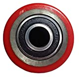 """DAZONE Pallet Jack Replacement Steer Wheels 7"""" x 2"""" with Bearings ID 20mm Poly Tread Red"""