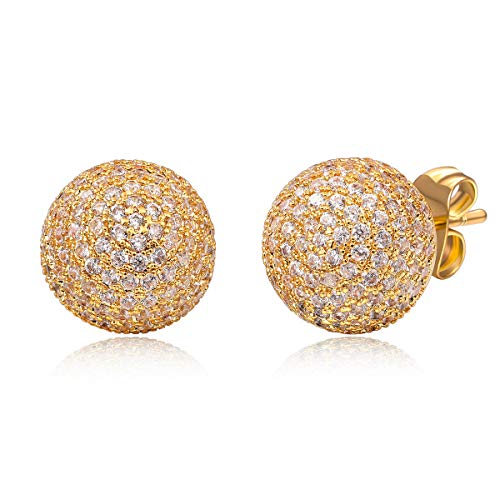- Zhang Trading 18K Gold Plated Half Ball Shape Full Micro-Pave CZ Stud Earrings (Yellow Gold)