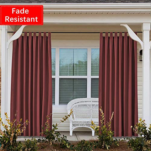 Macochico Waterproof Outdoor Curtains for Patio Velcro Tab Top Outdoor Drapes for Pergola Cabana Covered Patio Gazebo Dock and Beach Home Burgundy, 84Wx102L Inch (1 Panel)