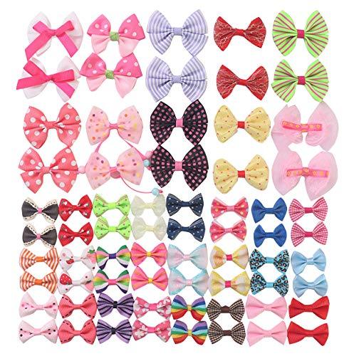 - YAKA68pcs(34pairs) Mix Grosgrain Ribbon Mini Bow Ties Craft Rose Appliques Craft Wedding Hair Bow DIY Decor 34Color (Style3)