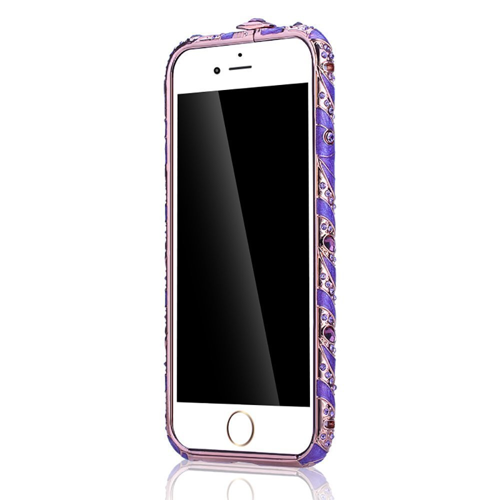iPhone 6/6S Plus Case Mate RongW Cover Faceplate Crystals Diamond Sparkle Jeweled Design Case ,Frame Bumper for iPhone6/6S Plus (Rose Purple 5.5 Inch)