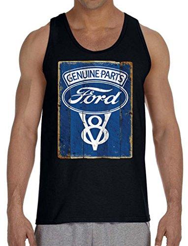Men's Ford Genuine Parts V8 Black Tank Top Medium Black (Ford Flathead V8 Crate Engine For Sale)