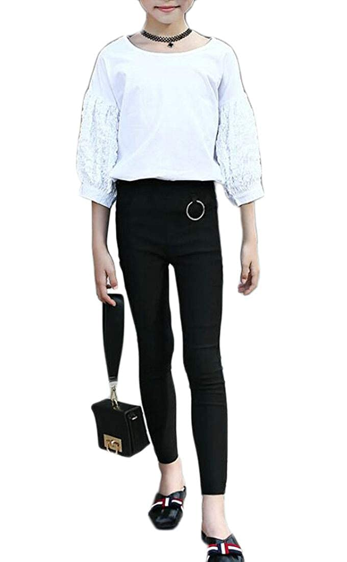 Cromoncent Girl High Waist Stretch Cute Fit Pencil Trousers Legging