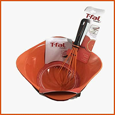 T-Fal Excite! 4 Quart Orange and Black Mixing Bowl Bundled with 11 Inch Orange Silicone Balloon Whisk